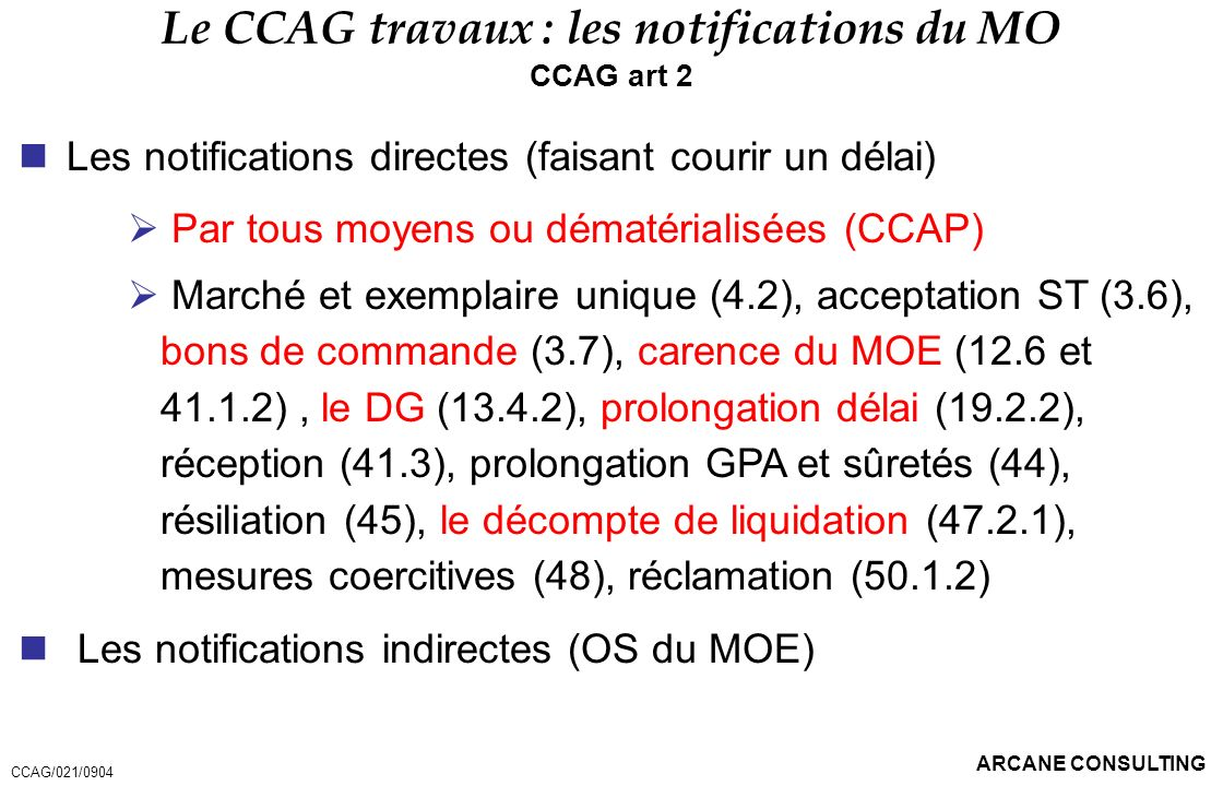 Le CCAG travaux : les notifications du MO