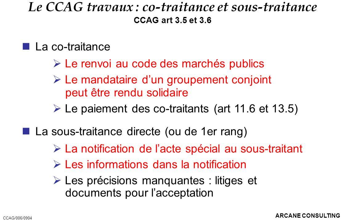 Le CCAG travaux : co-traitance et sous-traitance
