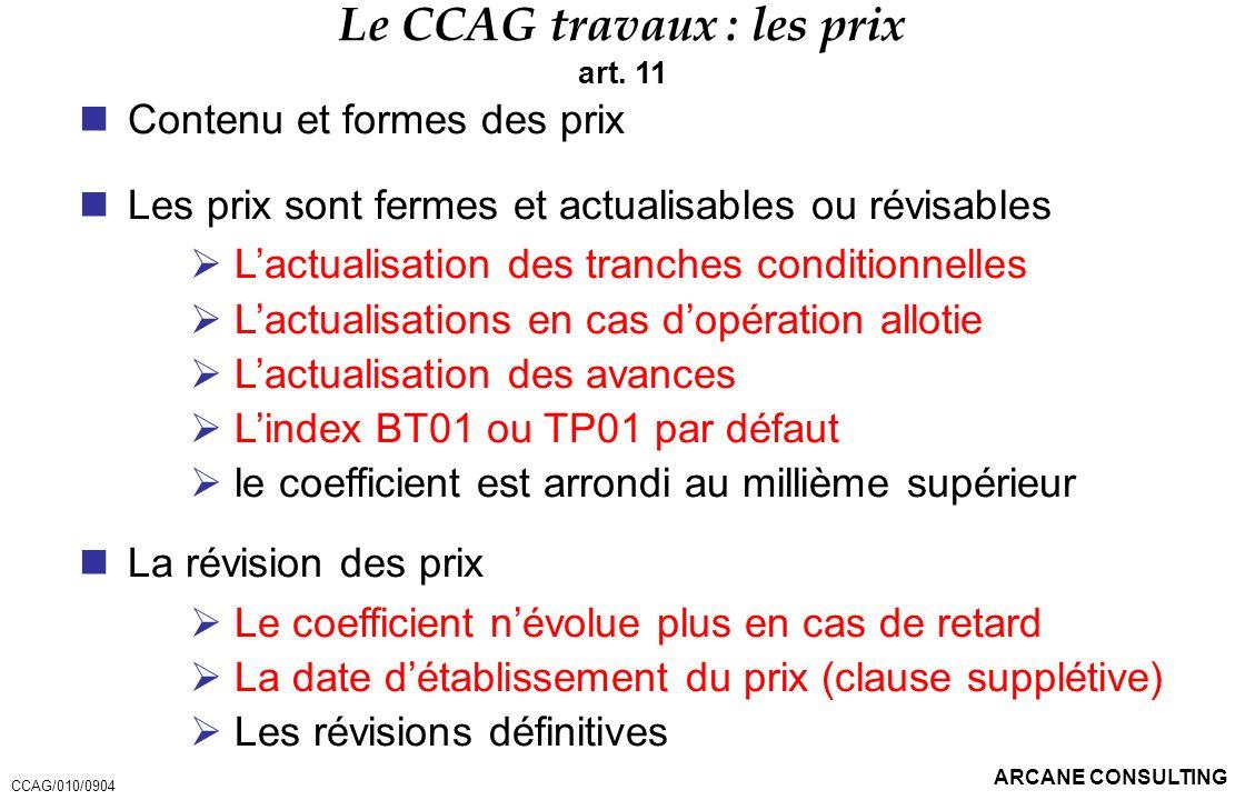 Le CCAG travaux : les prix