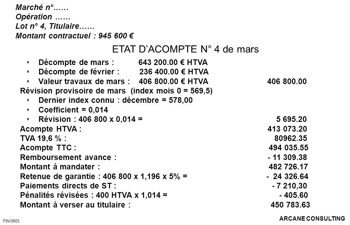 ETAT D'ACOMPTE N° 4 de mars