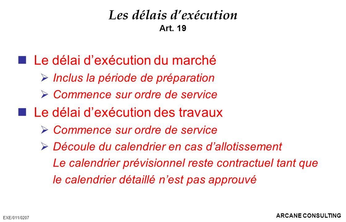 Les délais d'exécution