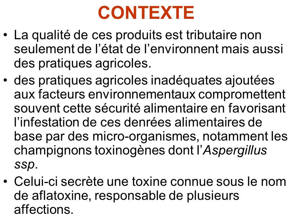CONTEXTE La qualité de ces produits est tributaire non seulement de l'état de l'environnent mais aussi des pratiques agricoles.