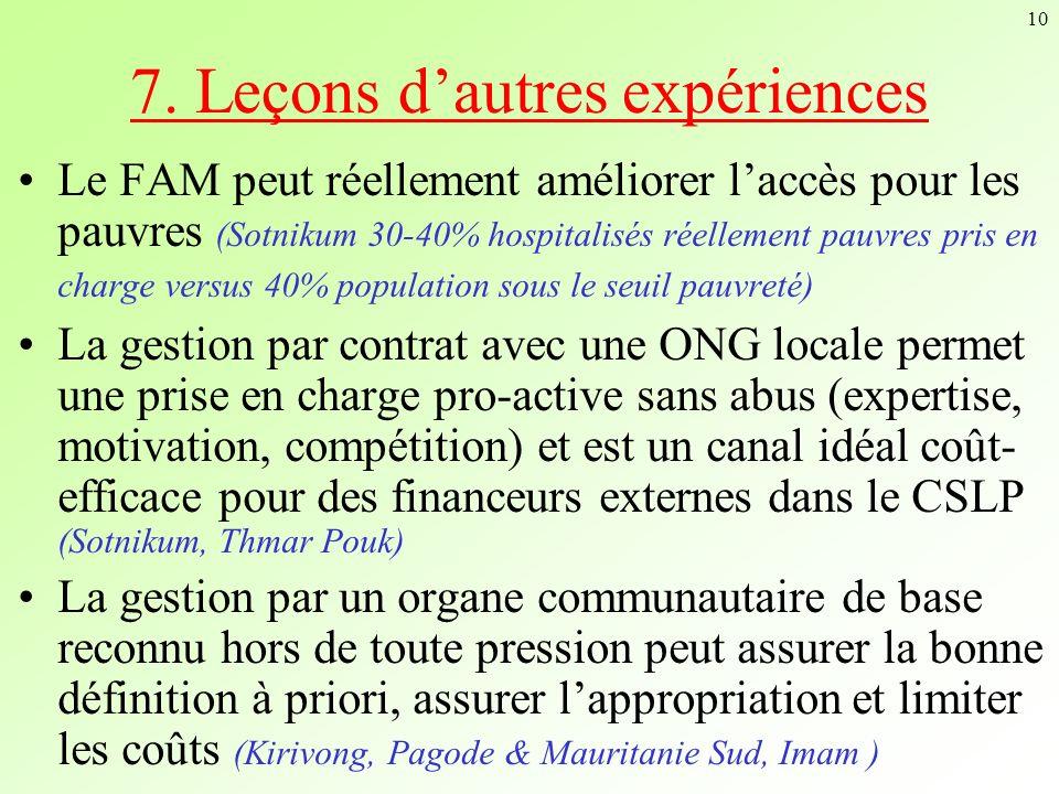 7. Leçons d'autres expériences