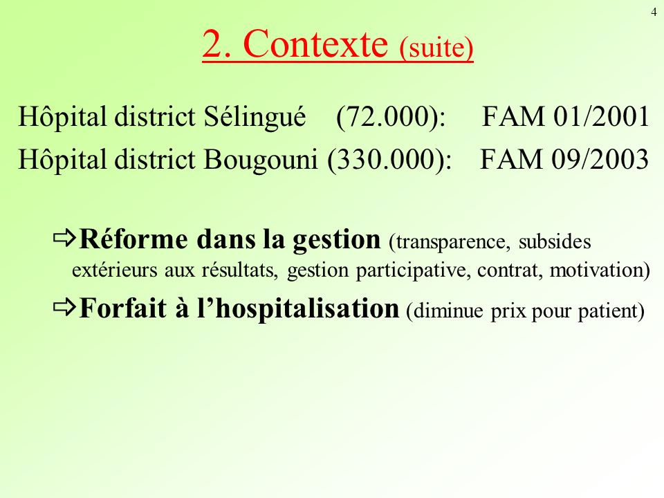 2. Contexte (suite) Hôpital district Sélingué (72.000): FAM 01/2001