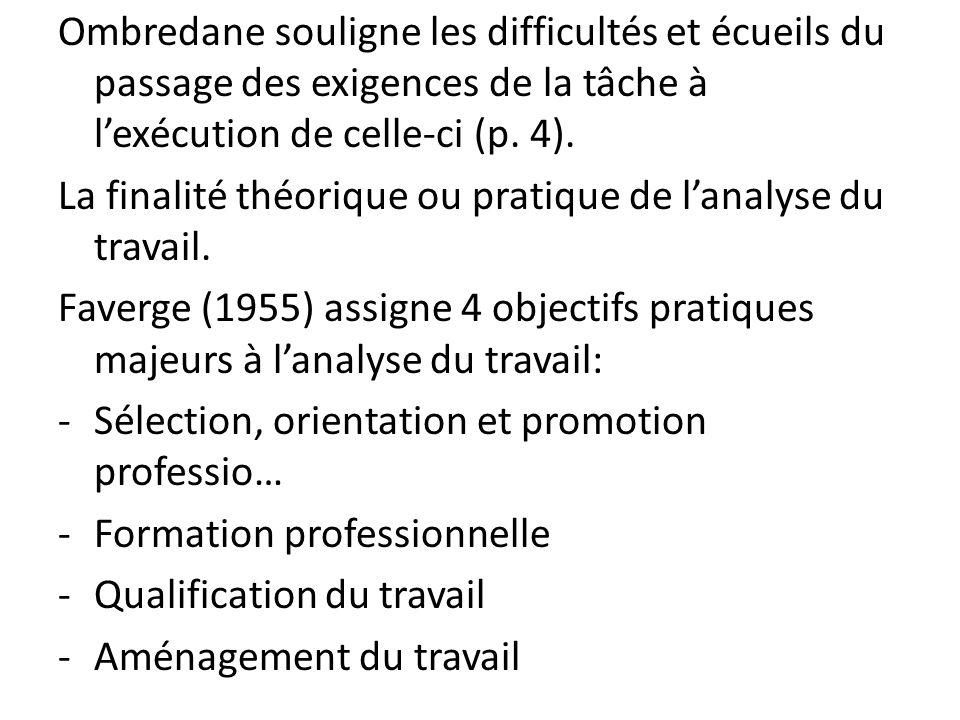 Ombredane souligne les difficultés et écueils du passage des exigences de la tâche à l'exécution de celle-ci (p. 4).