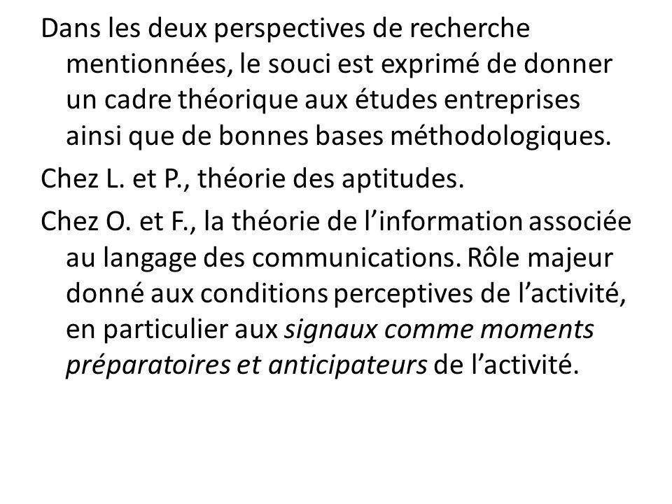Dans les deux perspectives de recherche mentionnées, le souci est exprimé de donner un cadre théorique aux études entreprises ainsi que de bonnes bases méthodologiques.