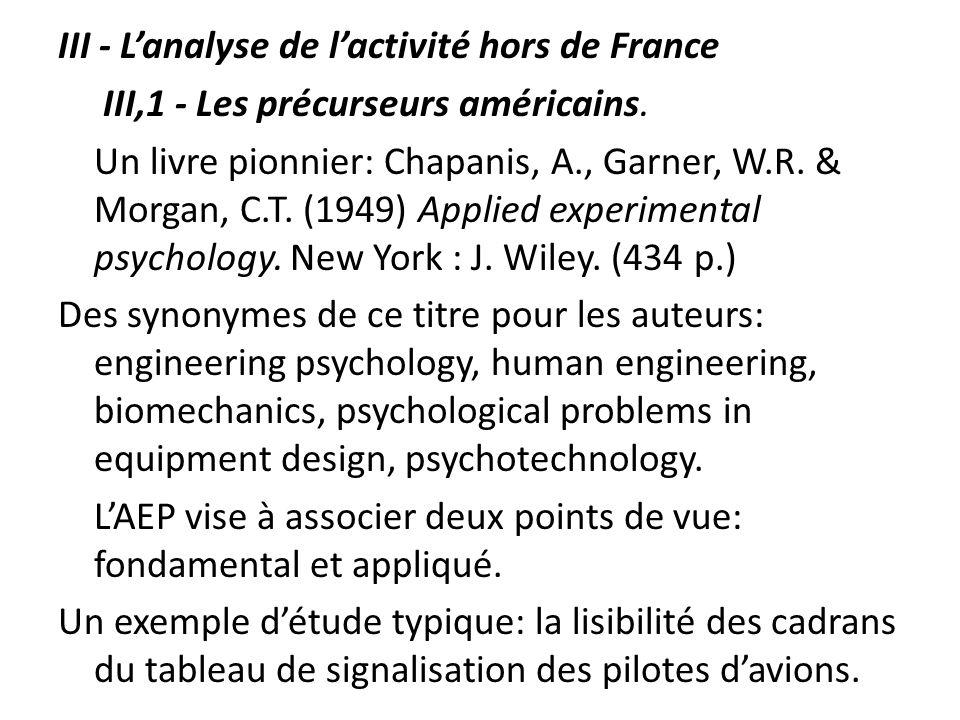 III - L'analyse de l'activité hors de France III,1 - Les précurseurs américains.