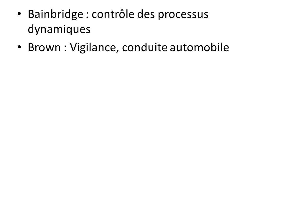 Bainbridge : contrôle des processus dynamiques