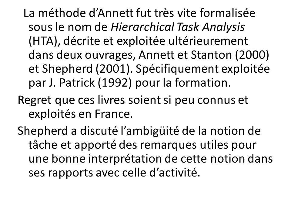 La méthode d'Annett fut très vite formalisée sous le nom de Hierarchical Task Analysis (HTA), décrite et exploitée ultérieurement dans deux ouvrages, Annett et Stanton (2000) et Shepherd (2001).