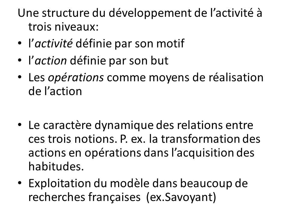 Une structure du développement de l'activité à trois niveaux: