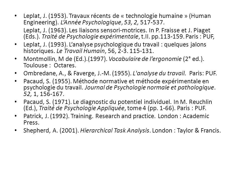 Leplat, J. (1953). Travaux récents de « technologie humaine » (Human Engineering). L'Année Psychologique, 53, 2, 517-537.