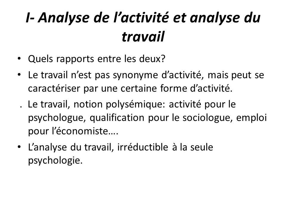 I- Analyse de l'activité et analyse du travail