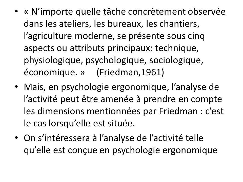 « N'importe quelle tâche concrètement observée dans les ateliers, les bureaux, les chantiers, l'agriculture moderne, se présente sous cinq aspects ou attributs principaux: technique, physiologique, psychologique, sociologique, économique. » (Friedman,1961)