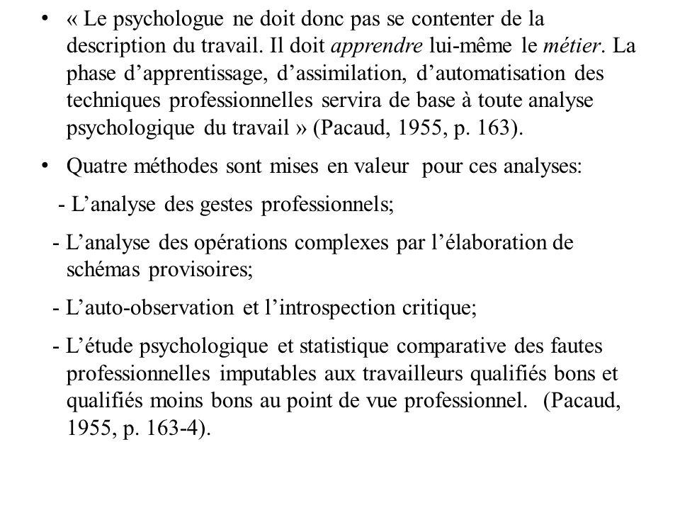 « Le psychologue ne doit donc pas se contenter de la description du travail. Il doit apprendre lui-même le métier. La phase d'apprentissage, d'assimilation, d'automatisation des techniques professionnelles servira de base à toute analyse psychologique du travail » (Pacaud, 1955, p. 163).