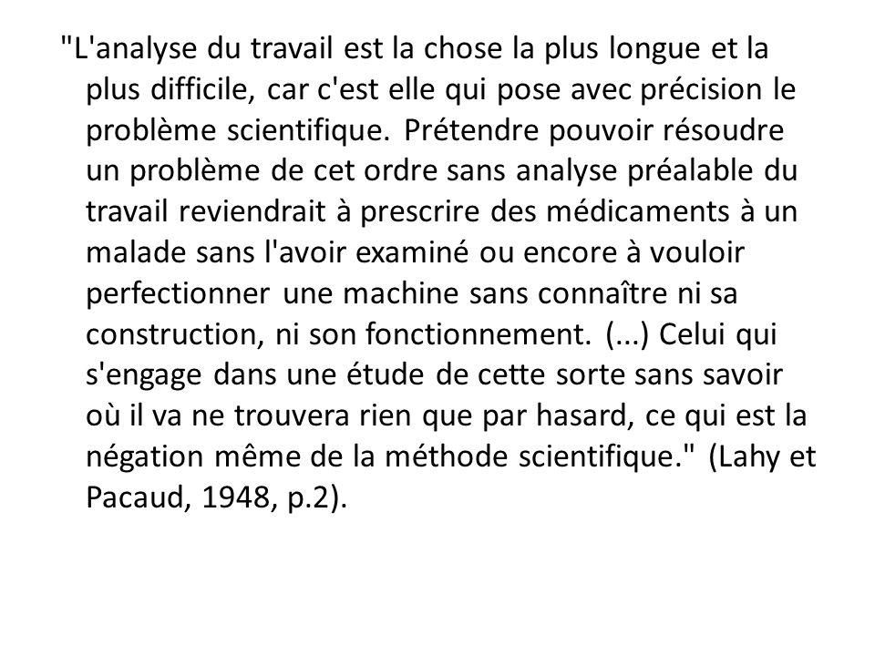 L analyse du travail est la chose la plus longue et la plus difficile, car c est elle qui pose avec précision le problème scientifique.