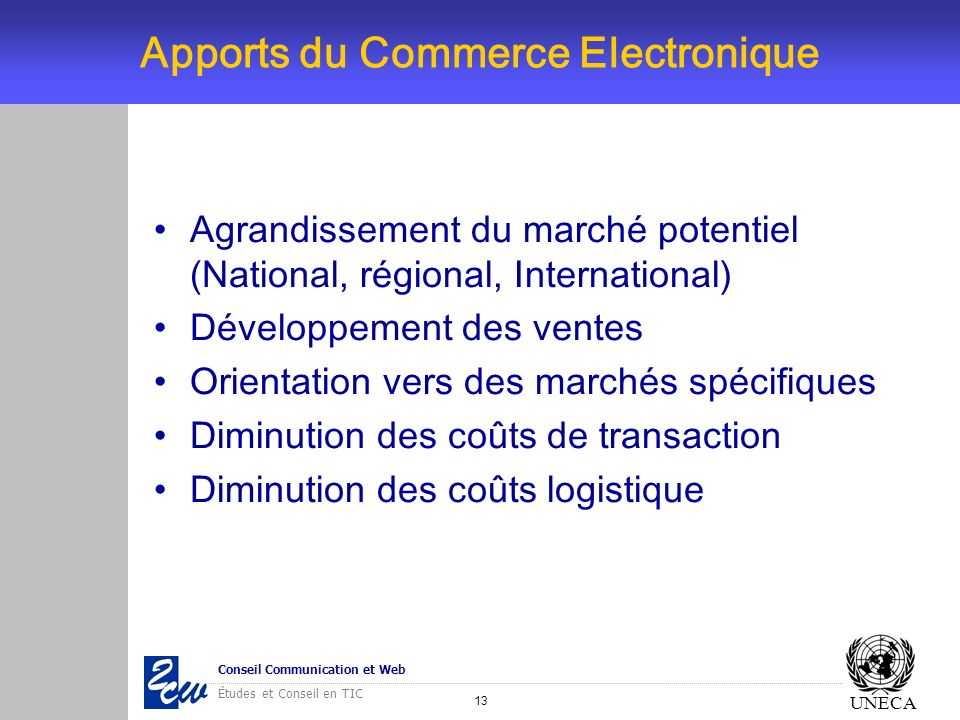 Apports du Commerce Electronique