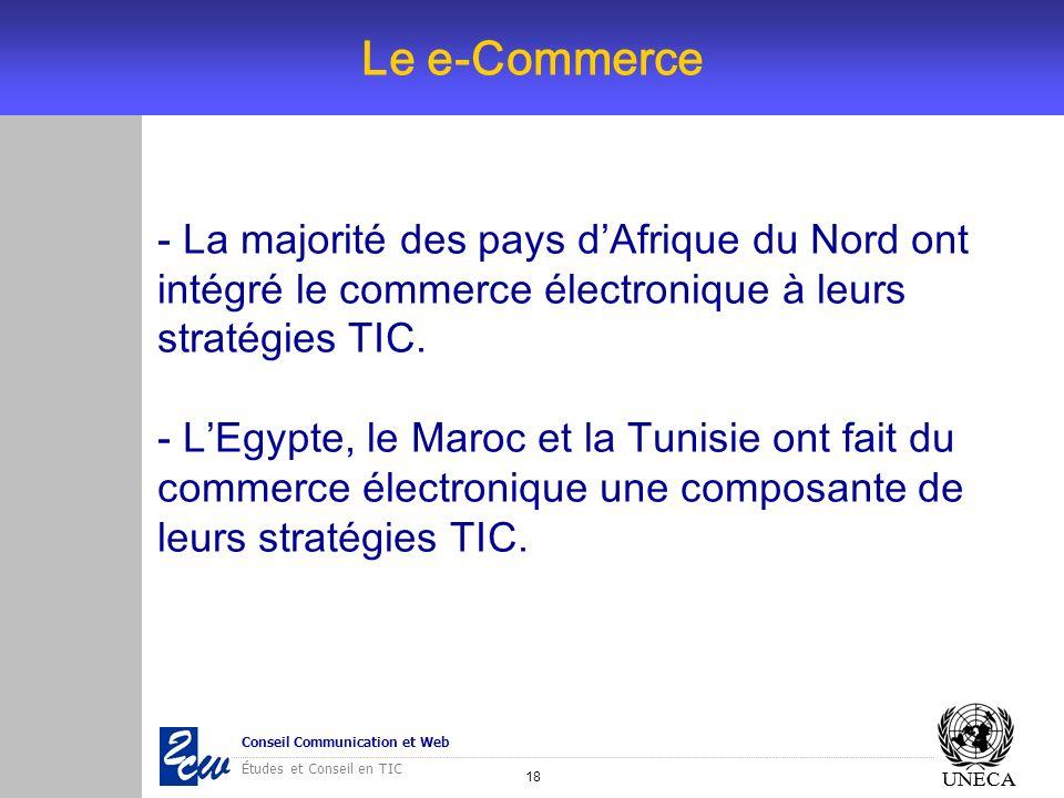 Le e-CommerceLa majorité des pays d'Afrique du Nord ont intégré le commerce électronique à leurs stratégies TIC.