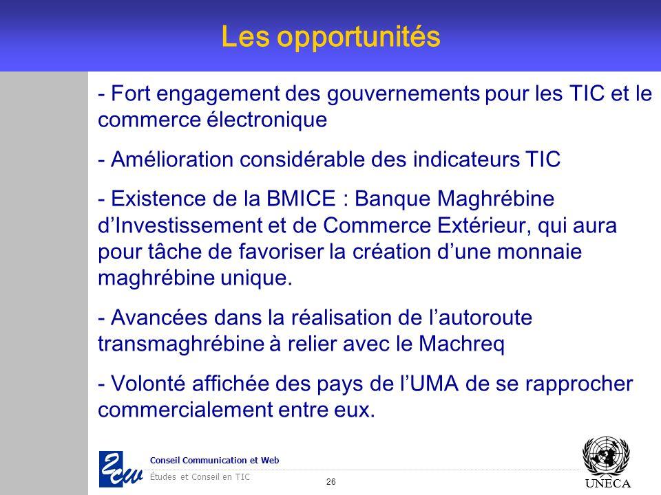Les opportunités- Fort engagement des gouvernements pour les TIC et le commerce électronique. - Amélioration considérable des indicateurs TIC.