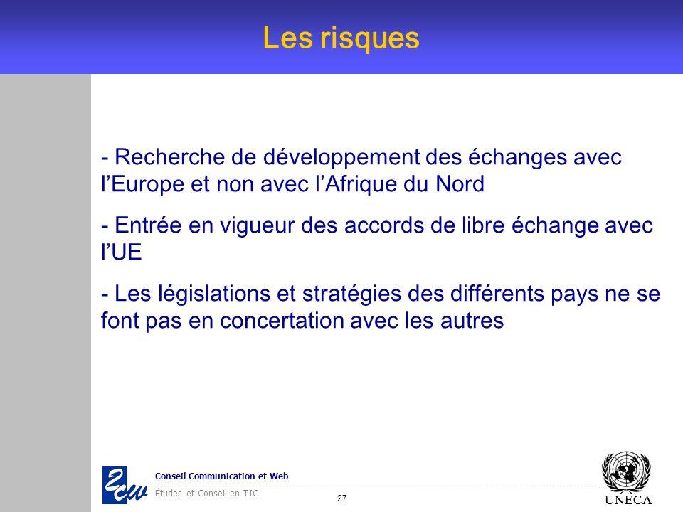 Les risques- Recherche de développement des échanges avec l'Europe et non avec l'Afrique du Nord.