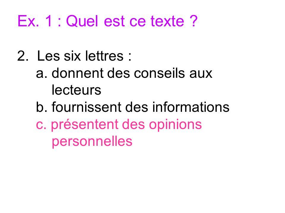 Ex. 1 : Quel est ce texte