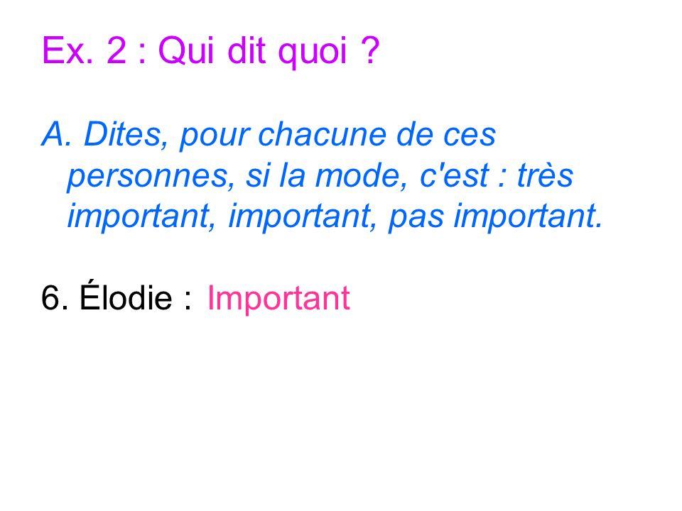 Ex. 2 : Qui dit quoi A. Dites, pour chacune de ces personnes, si la mode, c est : très important, important, pas important.