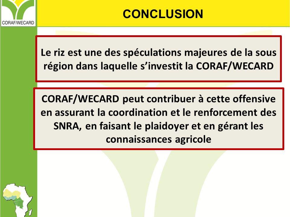 CONCLUSION Le riz est une des spéculations majeures de la sous région dans laquelle s'investit la CORAF/WECARD.