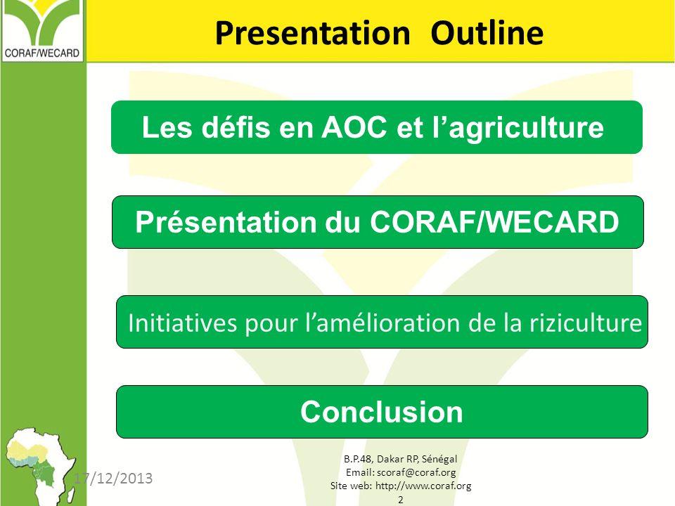 Les défis en AOC et l'agriculture Présentation du CORAF/WECARD