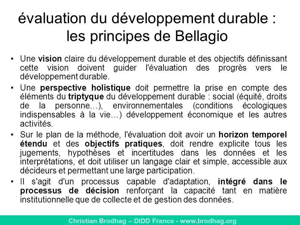 évaluation du développement durable : les principes de Bellagio
