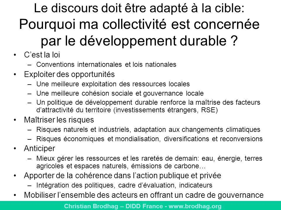 Le discours doit être adapté à la cible: Pourquoi ma collectivité est concernée par le développement durable