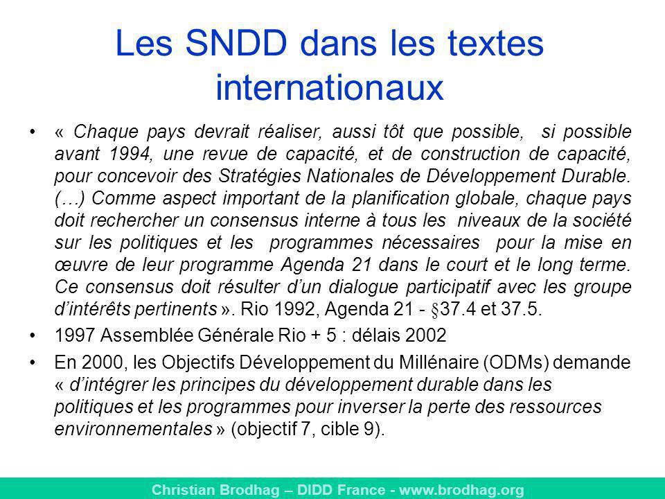 Les SNDD dans les textes internationaux
