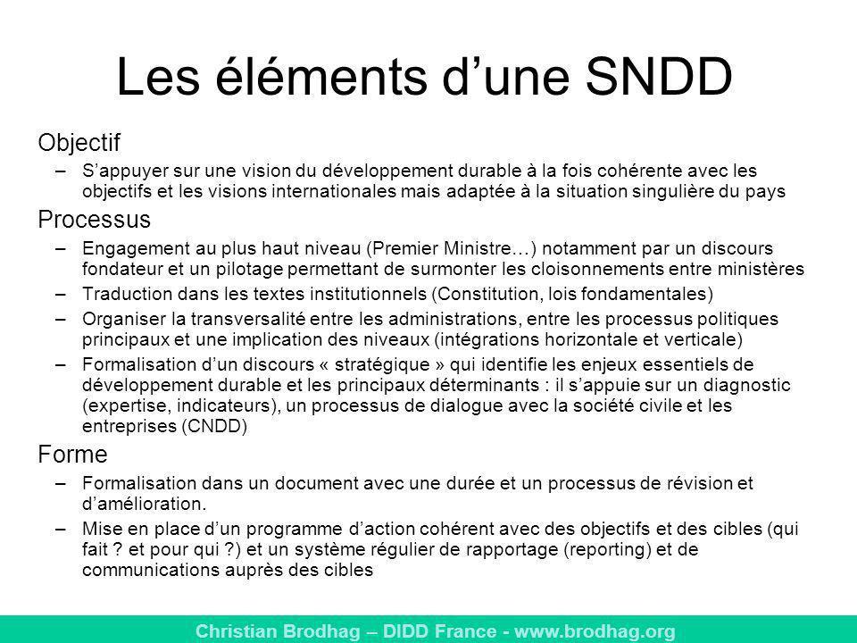 Les éléments d'une SNDD