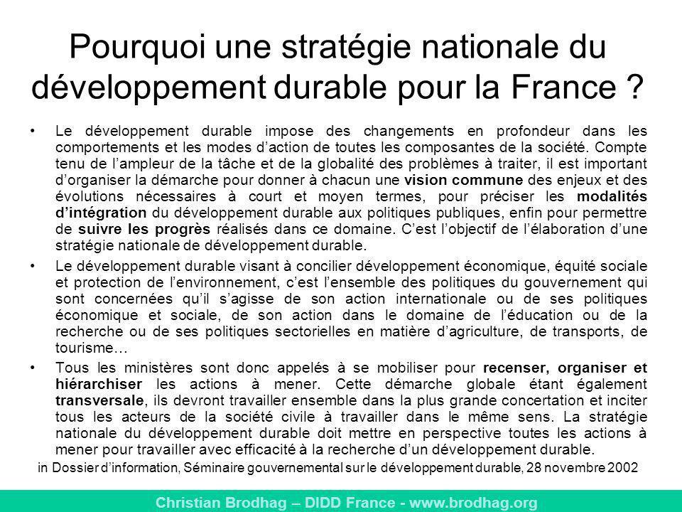 Pourquoi une stratégie nationale du développement durable pour la France