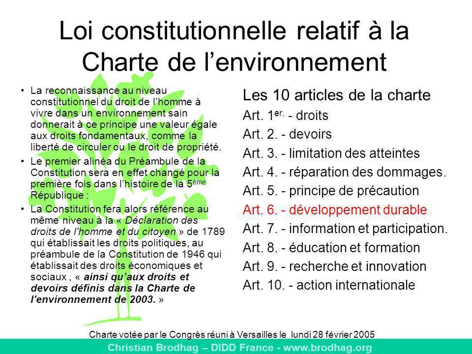 Loi constitutionnelle relatif à la Charte de l'environnement