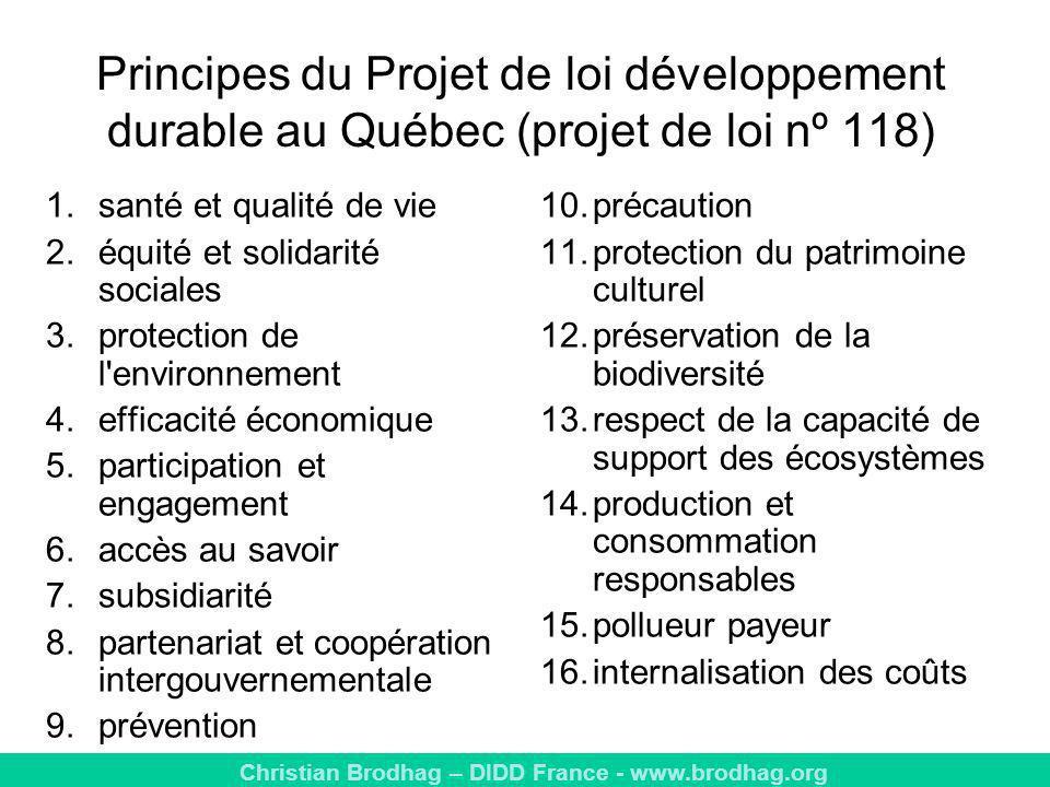 Principes du Projet de loi développement durable au Québec (projet de loi nº 118)