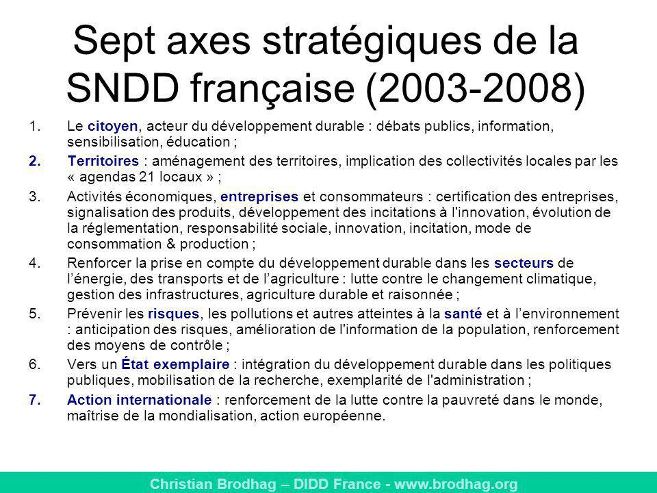 Sept axes stratégiques de la SNDD française (2003-2008)