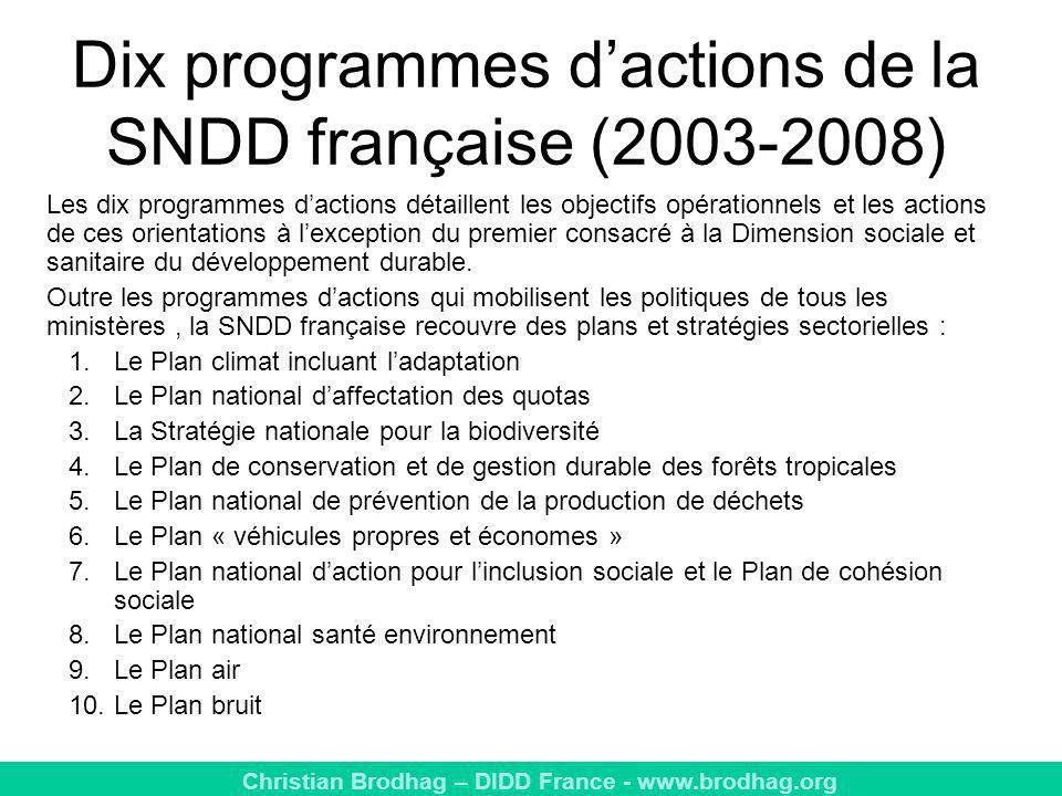 Dix programmes d'actions de la SNDD française (2003-2008)
