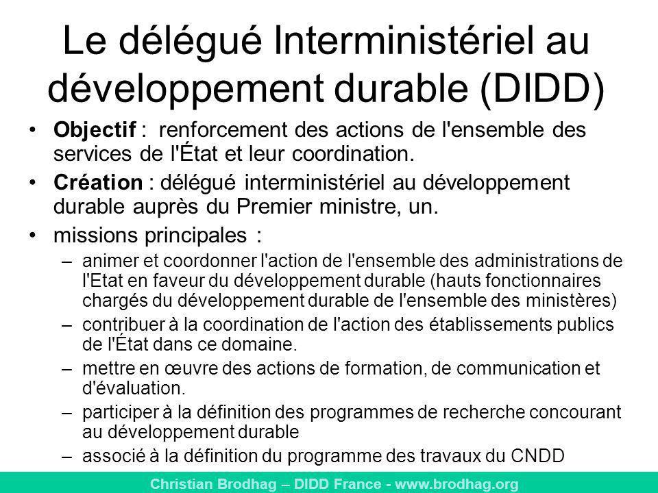 Le délégué Interministériel au développement durable (DIDD)