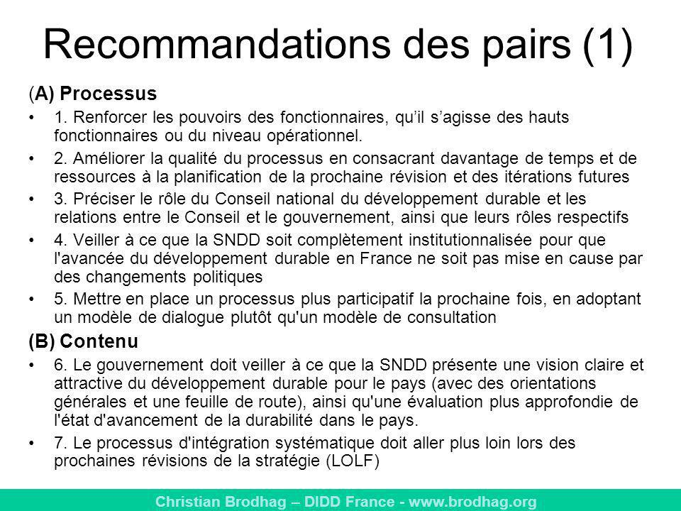 Recommandations des pairs (1)