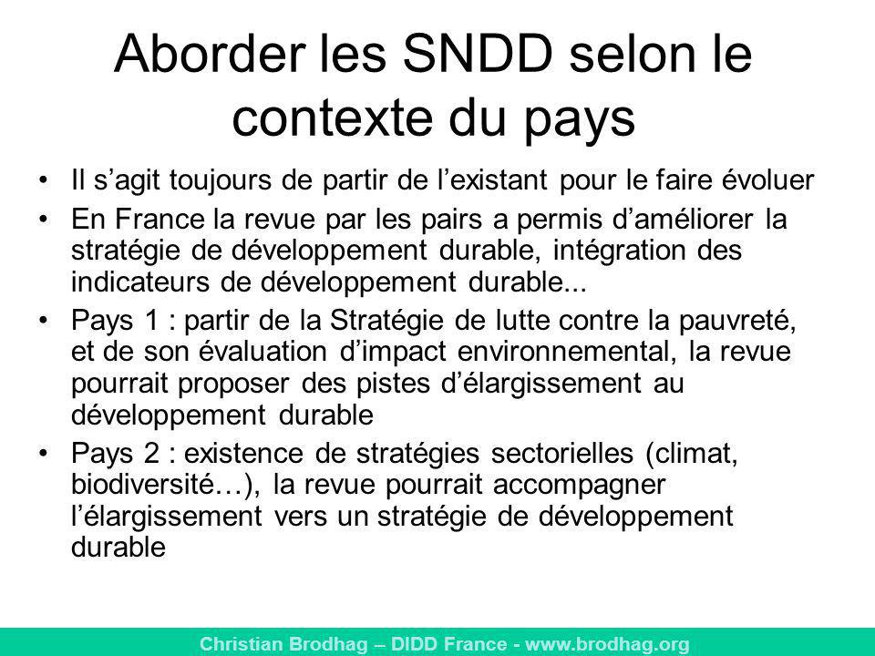 Aborder les SNDD selon le contexte du pays