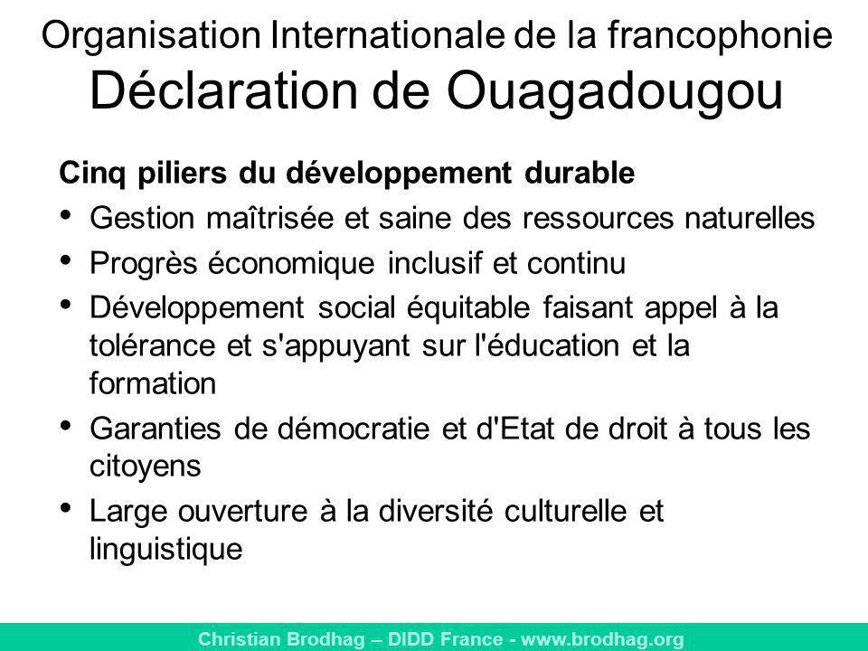 Organisation Internationale de la francophonie Déclaration de Ouagadougou