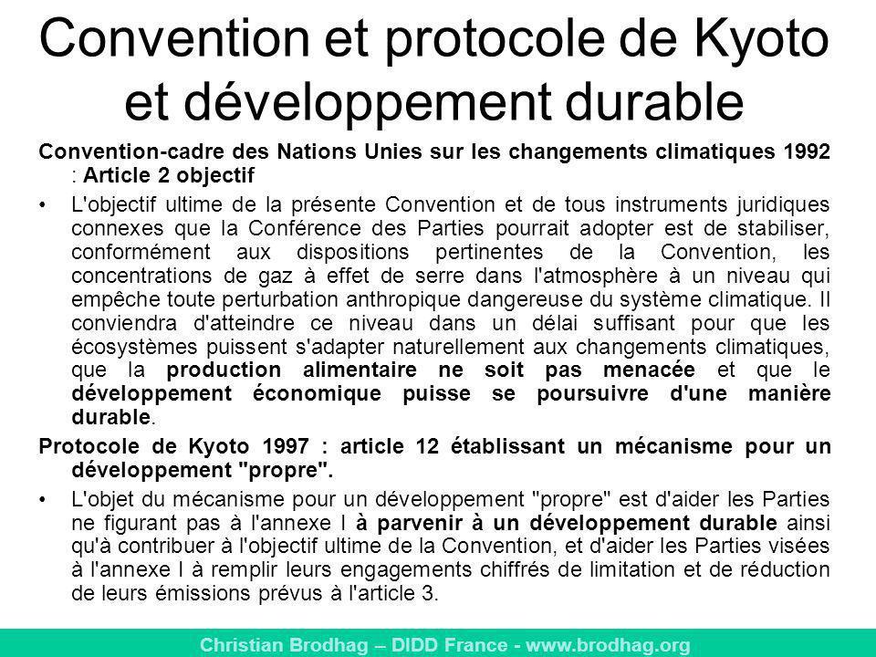 Convention et protocole de Kyoto et développement durable