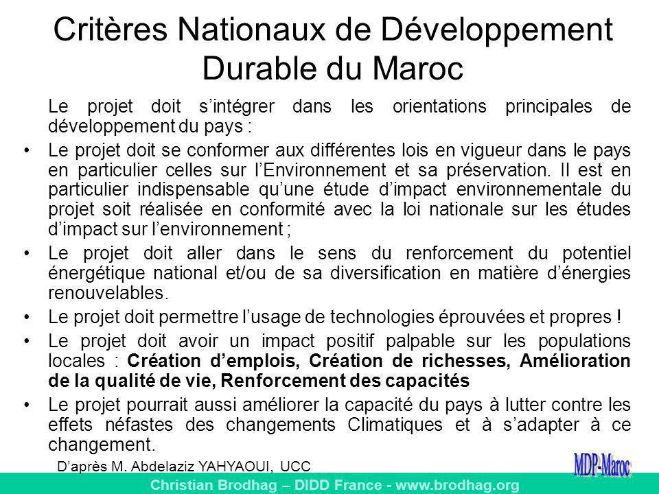 Critères Nationaux de Développement Durable du Maroc