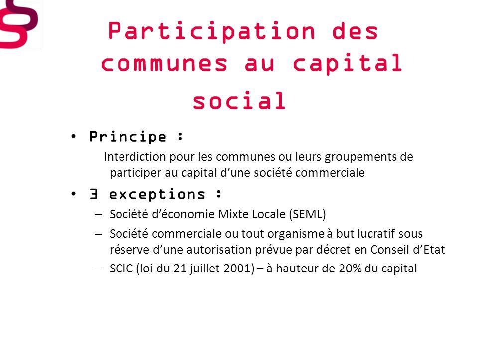 Participation des communes au capital social