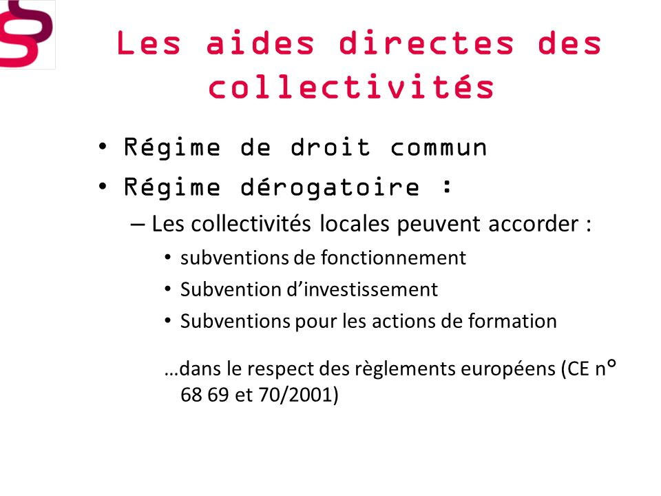 Les aides directes des collectivités