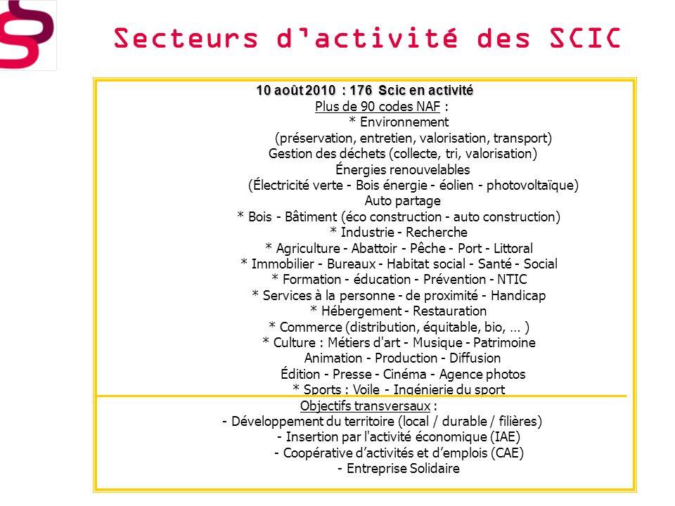 Secteurs d'activité des SCIC