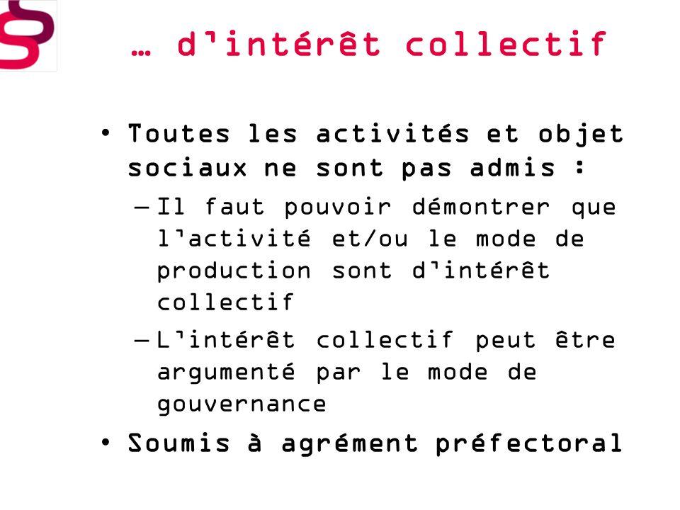 … d'intérêt collectif Toutes les activités et objet sociaux ne sont pas admis :