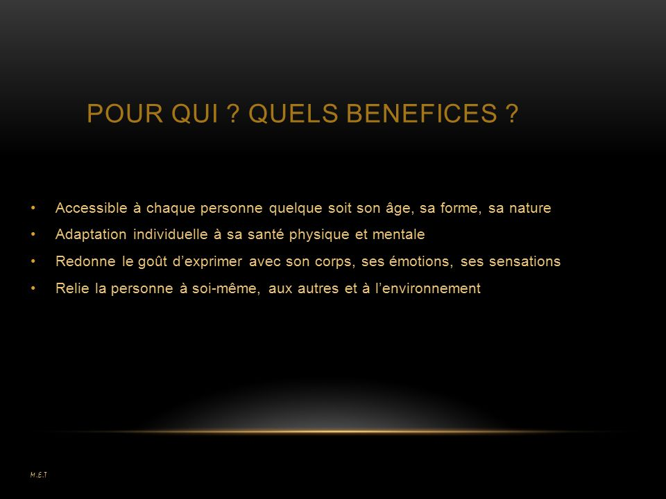 POUR QUI QUELS BENEFICES