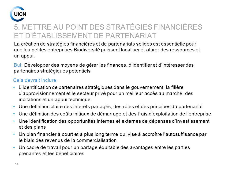 5. METTRE AU POINT DES STRATÉGIES FINANCIÈRES ET D'ÉTABLISSEMENT DE PARTENARIAT