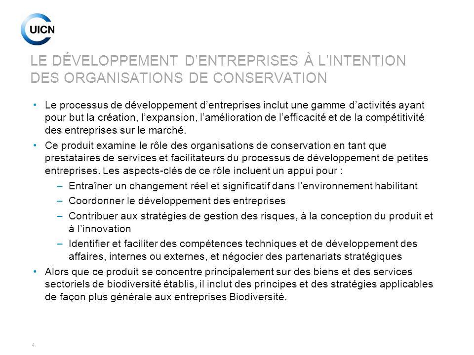 LE DÉVELOPPEMENT D'ENTREPRISES À L'INTENTION DES ORGANISATIONS DE CONSERVATION