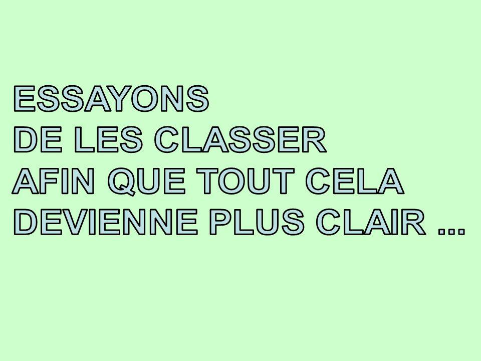 ESSAYONS DE LES CLASSER AFIN QUE TOUT CELA DEVIENNE PLUS CLAIR ...